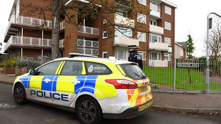 Police outside Dickens Court, Great Yarmouth. Picture: James Bass