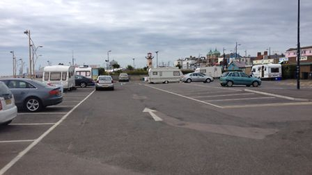 Travellers at car park next to the Marina Centre