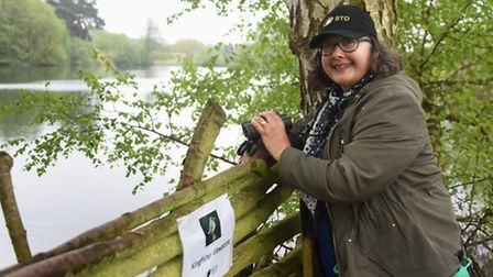 Bonita Johnston, BTO fundraiser, at the kingfisher viewpoint on the new Discovery Trail at Nunnery L