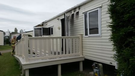 The caravan where a fire started at Breydon Water Caravan Park in the early hours of Sunday moring.