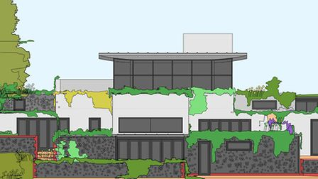 An architect's drawing of part of the 2.5-storey home planned on Howard's Hill, Cromer, by Russell W