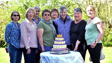 Ladies in Wacton have created a cake fit for a queen for the village's Queen Elizabeth Birthday cele
