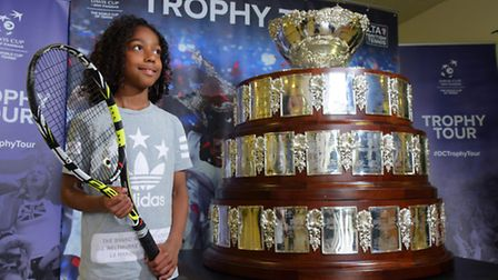 The Davis Cup trophy on show at The Sportspark providing inspiration for youngsters including county