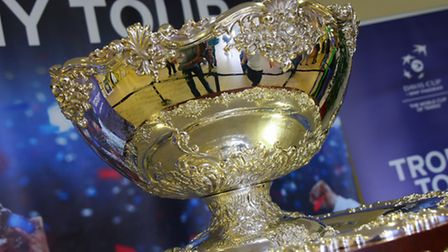 The Davis Cup trophy on show at The Sportspark PHOTO BY SIMON FINLAY