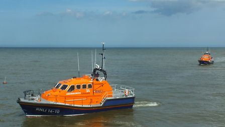 Cromer lifeboat the Lester sitting off the station with its sister relief boat. Picture: PAUL RUSSEL