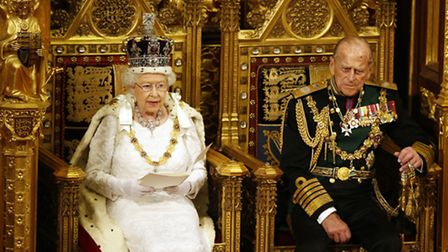 Queen Elizabeth II delivers the Queen's Speech as the Duke of Edinburgh listens, during the State Op