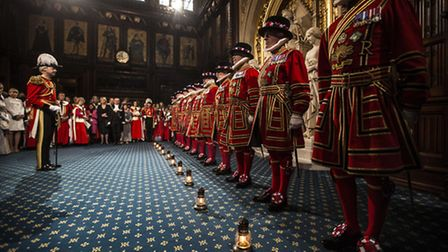 """Yeoman warders take part in the traditional """"ceremonial search"""" in the Prince's chamber in the house"""
