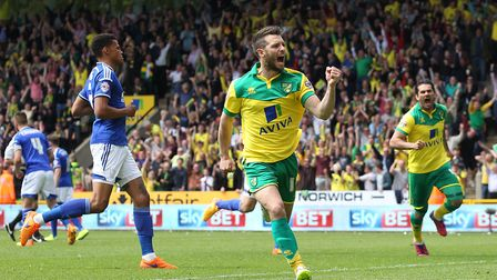 Wes Hoolahan celebrates giving Norwich City the lead against Ipswich in the Championship play-off se