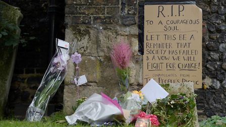 A vigil for ' Fiona ' taking place at the spot where she was found dead, close to St Saviours, Norwi