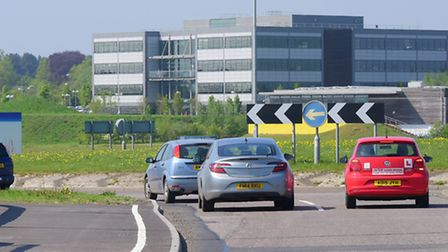The old roundabout at The Postwick Hub where temporary lights were briefly trialled. PHOTO BY SIMON
