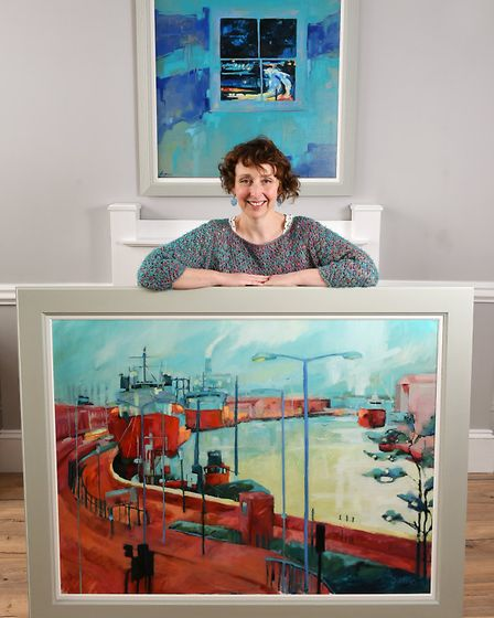 Artist Rachel Thomas with her latest work which is being exhibited at the former Star and Garter pub