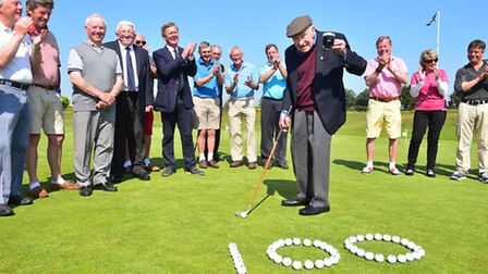 Caister and Yarmouth Golf club member Jimmy Hawick celebrates his 100th birthday at the club.PHOTO:
