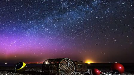 Watch the Northern Lights over Cley. Photo: Screenshot from Ben Gadsby-Williams' video.