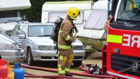 Firefighters at the scene of a fire at Lowestoft Touring Caravans on South Lowestoft Industrial Esta