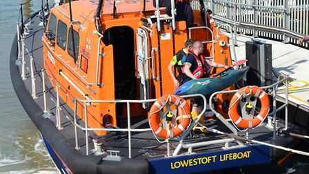 The Lowestoft RNLI lifeboat was called to help a canoeist who had got into difficulty