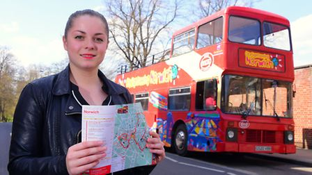 Jessica Long trades a trip on the Norwich tour bus.PHOTO BY SIMON FINLAY