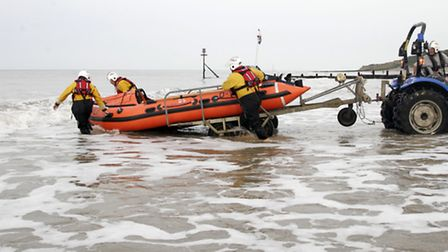 The inshore lifeboat is launched in Cromer. Photo: Chris Gill