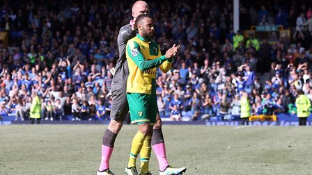 Nathan Redmond of Norwich and John Ruddy of Norwich at the end of the Barclays Premier League match