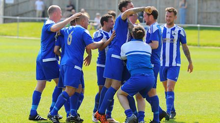 Riverside Rovers on their way to winning the Norwich and District Sunday Football League Cup final a