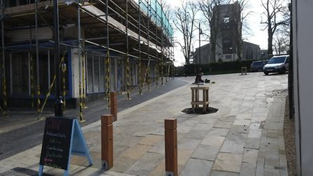 Bollards erected on the site of the former 4a Market Street in North Walsham. Picture: MARK BULLIMOR