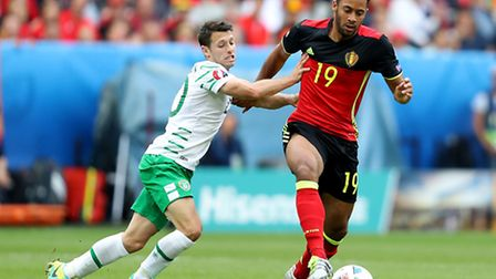 Norwich City legend and Republic of Ireland star Wes Hoolahan battles for the ball with and Belgium'
