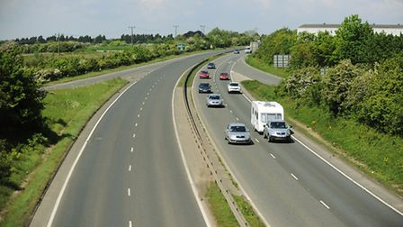 The A47 dual-carriageway between the Pullover Roundabout and the Hardwick Roundabout, King's Lynn. P