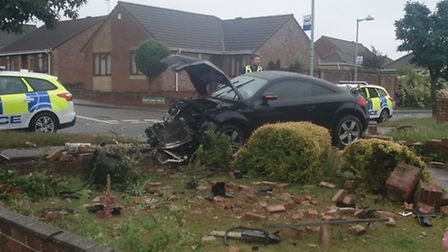A car crashed into a wall on Crestview Drive in Lowestoft.