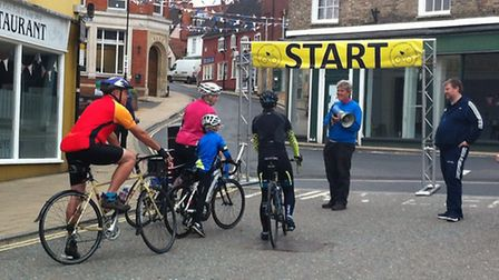 The inaugural Diss Cyclathon. Riders gather on the Market Place.