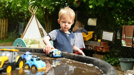 Children at Little Ducklings Pre School in Reedham enjoying being in their new and imporoved outdoor