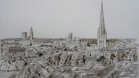 John Booths sepia watercolour called Norwich from Ketts Heights.