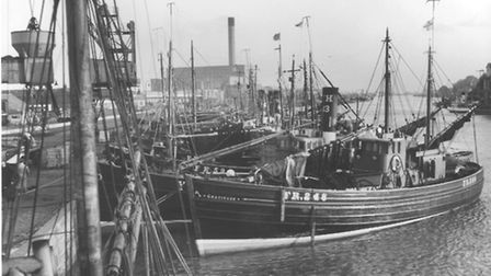 Herring FishingHerring fleet moored at Great YarmouthBoats identified in picture areGratitude FR248