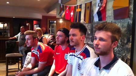 Fans watching England face Wales in the Lamb Inn, Norwich.