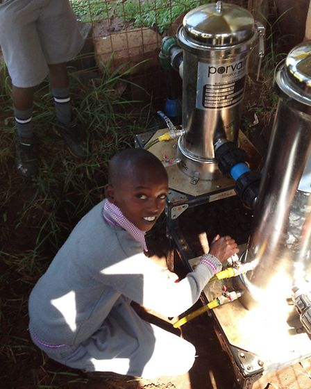 The children of Olpalagilagi Primary can now filter their own tank of spring water