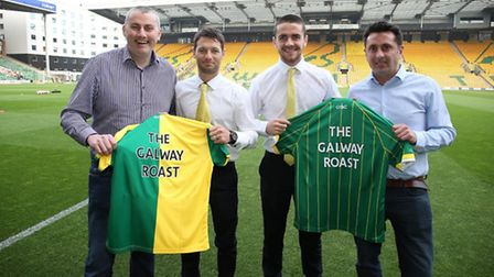 The new sponsors with Norwich City's Irish players. From left to right Niall Murphy, Wes Hoolahan, R