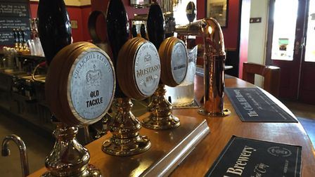 Some of the Chalk Hill Brewery's beers on offer at The Coach and Horses pub.