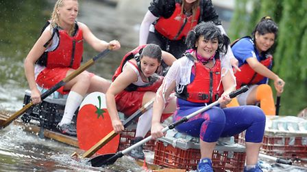 Scenes from the race heats of the 2014 Hilgay Raft Race. Picture: Matthew Usher.