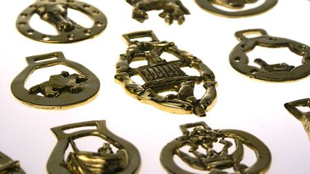 Some of the horse brasses which will be worn by the horses in The History Train procession which is