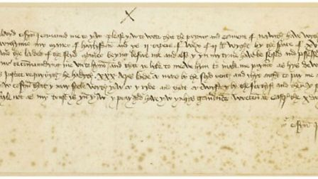 Letter from Sir John Fastolf to John Paston writter by William Worcester from the collection of the