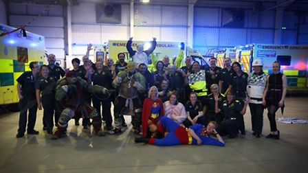Staff at the Waveney Ambulance depot took part in the Running Man Challenge for the Ollie's Heroes c