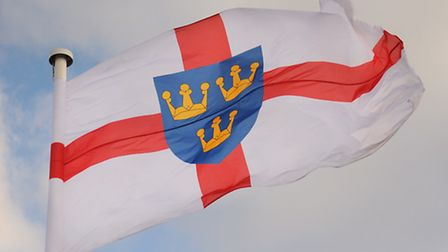 The East Anglia flag flying at County Hall in Norwich. Picture: DENISE BRADLEY