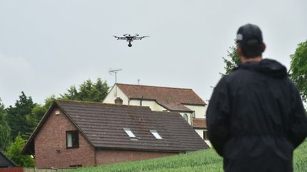 Special Operations Sergeant Aaron Connolly using a drone in the search for Sylvia Stuart in Weybread