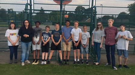 Members of the Sprowston Youth Engagement Project with Clare Lincoln, second from left.