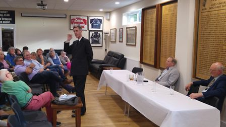 MP Jacob Rees Mogg speaking at a Vote Leave meeting in Holt