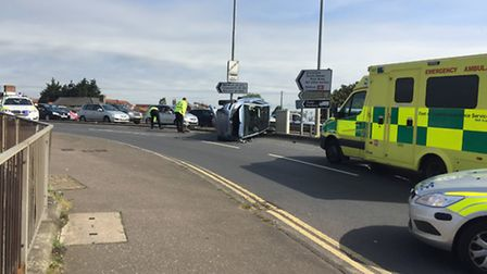 Accident on Fuller's Hill, Yarmouth between a car and a lorry.