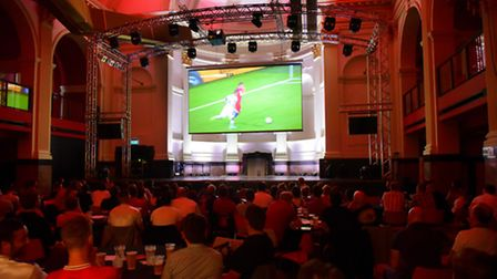 England fans watch the match against Slovakia on the big screen at OPEN.PHOTO BY SIMON FINLAY
