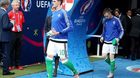 Norwich City's Kyle Lafferty was left out of Northern Ireland's 2-0 Euro 2016 win against Ukraine. P