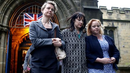 MPs leave St Peters Church, Birstall in West Yorkshire after a vigil for murdered MP Jo Cox. Picture
