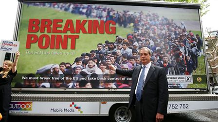 Ukip leader Nigel Farage launches a new Ukip EU referendum poster campaign in Smith Square, London.