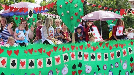 A float at the 40th Northwold Carnival, with the theme Paint the Village Red.