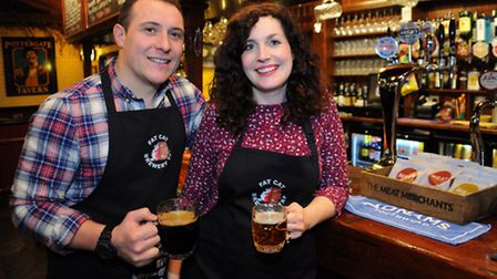 Fat Cat Brewery Tap landlords Mark White and Laura Hedley-White celebrate winning the CAMRA pub of t
